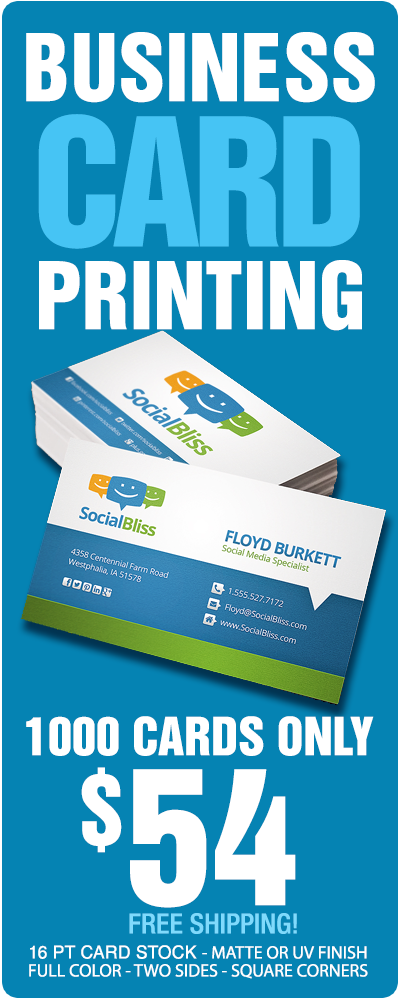 Get 1000 Standard Business Cards For Only $54. Free Shipping Too!